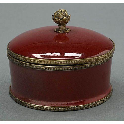 Oxblood Round Porcelain Box Elizabeth Marshall Boxes Decorative Boxes Home Decor