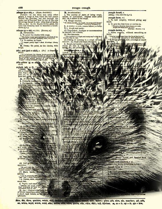 Hedgehog Dictionary Page Fun Hedgehog Art by reimaginationprints, $10.00   So, so adorable!