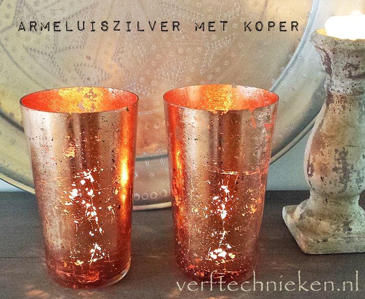Maak dit prachtige koperglas met de armeluiszilvertechniek van verftechnieken.nl #mercuryglass #silverglass #armeluiszilver
