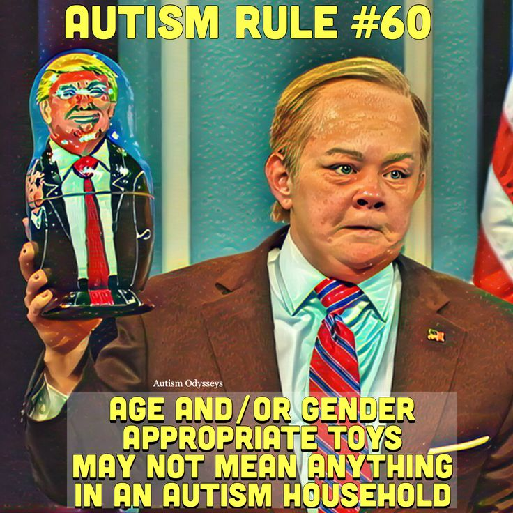Age and gender related toys mean nothing in an autism household (via Melissa McCarthy as Spicey/SNL)