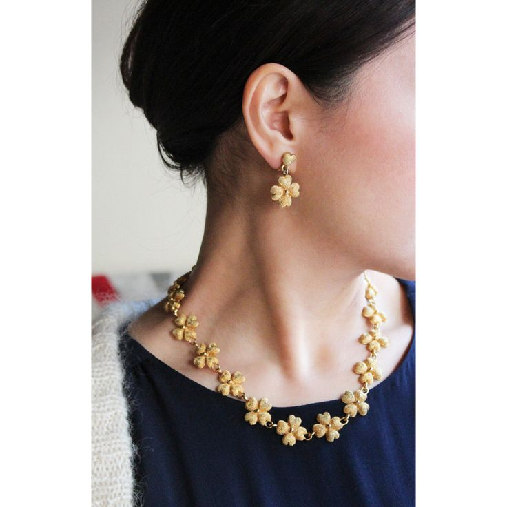 VINTAGE GOLD FLOWER NECKLACE & EARRING SET / ヴィンテージネッジュレス / セットジュエリー