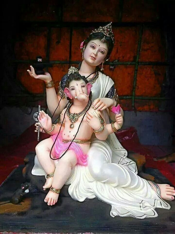 Goddess Parvati and her son Lord Ganpati. .