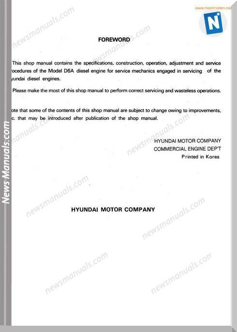 Hyundai Motor D6A Models Diesel Engine Shop Manual | Engine