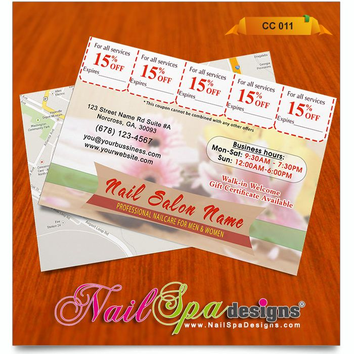 50 best Nail Spa Coupon Card Design images on Pinterest Card - coupon flyer template
