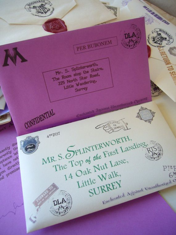 Deluxe Lost Hogwarts Letter Style (2) Typeset & Ministry Of Magic Letter Combo Purple via Etsy