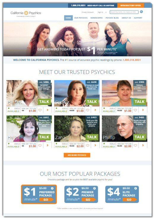 Portal for the network of California Psychics