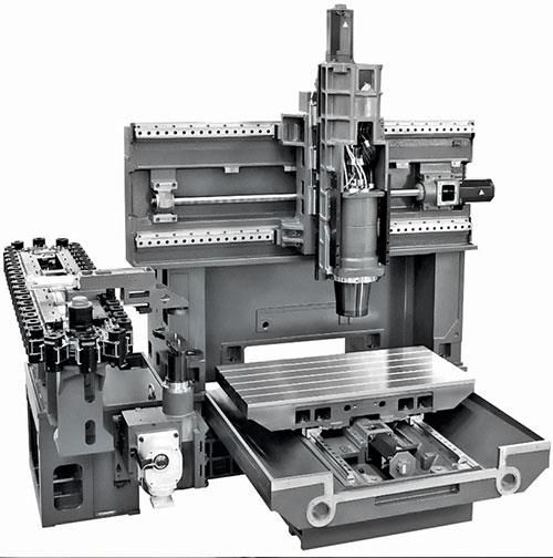 A gate structure firmly supports the X-axis drive and distributes the load, vibration and heat from the upper section of the machine evenly through the frame. This arrangement keeps the feed drive stable during operation.