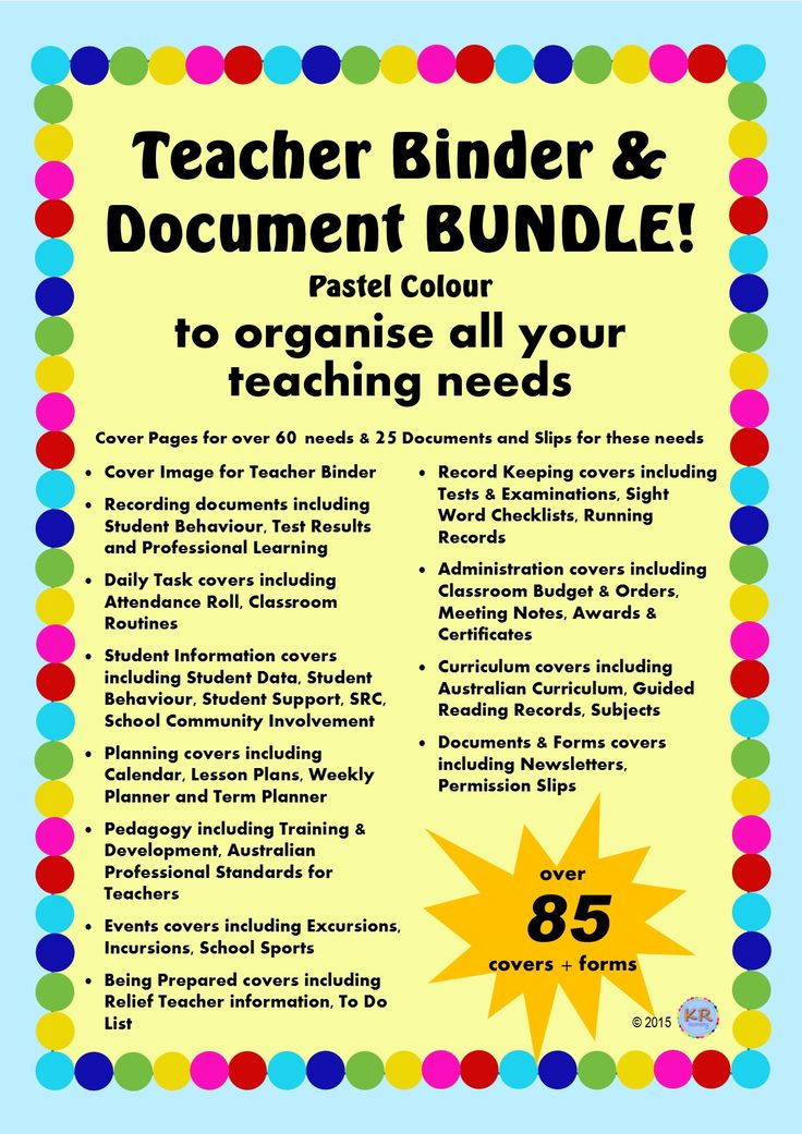 Pastel Australian Teacher Binder Covers & Document Package Bundle! including 60 covers/dividers for folders and over 25 recording documents to keep track of student learning and achievements including behaviour management and awards by KR Learning