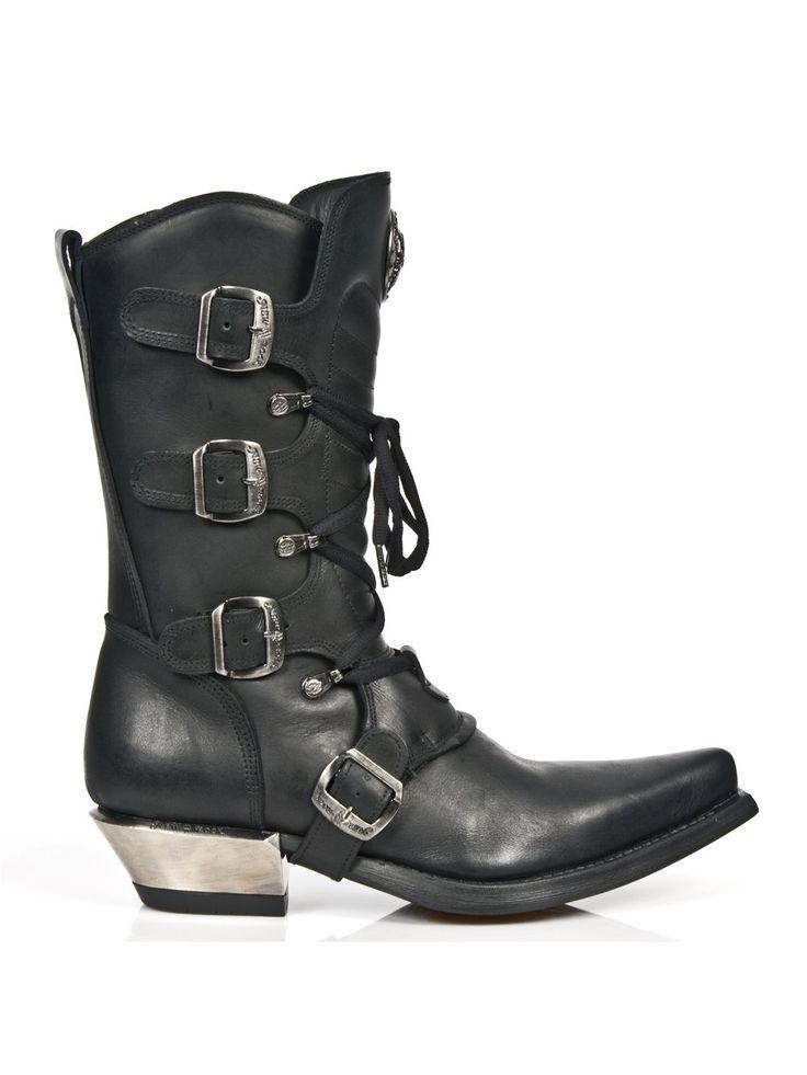 New Rock Hombres Negro Impreso Acero Tacón Zapatos - M.7934.S2 (EU 40, Negro)