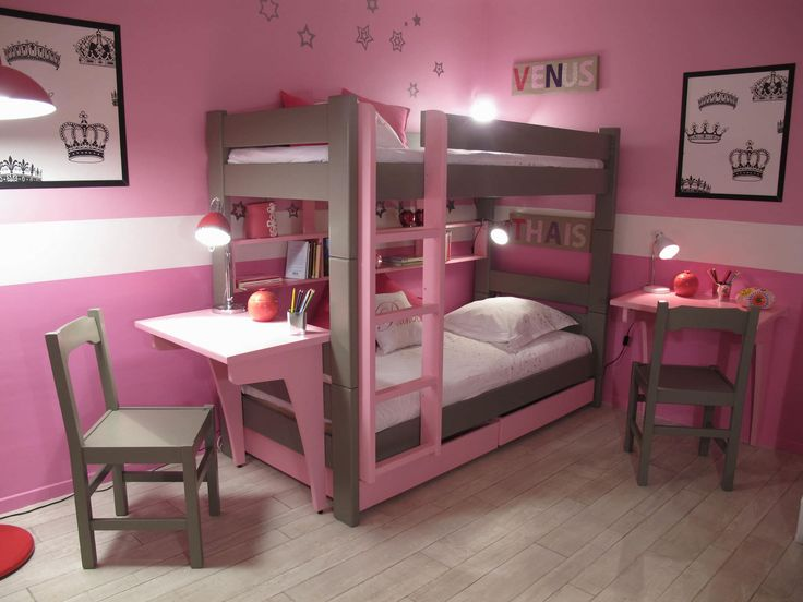 Teen Room Designs. Cute Minimalist Pink Young Teenagers Room Design Ideas Featuring Nice Comfy Pink Brown Bunk Beds Integrated with Lovely Study Desk. Fancy Teens Room Design with Cool Bunk Beds Feature