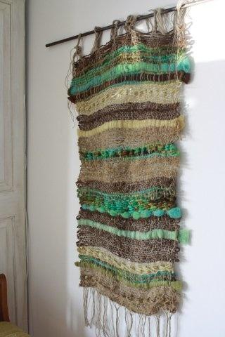 """Telar """"Verde con yute"""""""