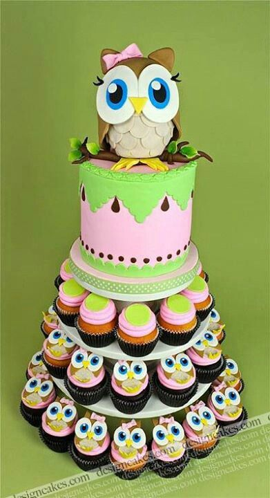 Owl Cake and Cupcakes ADORABLE