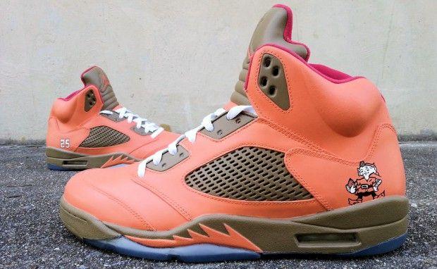 "Air Jordan 5 ""Cleveland Browns"" Custom  7f48548d9b89"