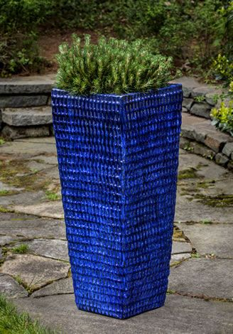 Tall Square Dimple Glazed Planter In Riviera Blue By 400 x 300
