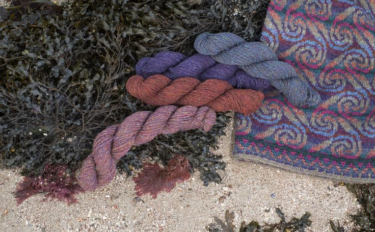 Donegal and Hebridean 2 Ply on the shoreline at the foot of Alice's croft.