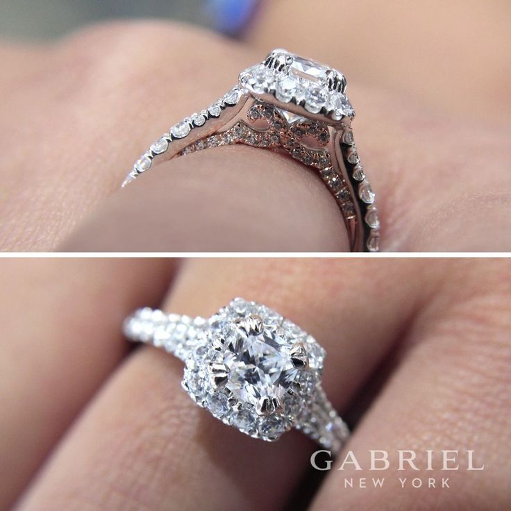 Gabriel NY - Preferred Fine Jewelry and Bridal Brand.14k White/Rose Gold Cushion Cut Halo Engagement Ring. Secret rose gold details beneath the white gold band make this lovely engagement ring even more alluring. Accent diamonds surround the cushion cut center stone and enhance the band.  Find your nearest retailer-> https://www.gabrielny.com/storelocator