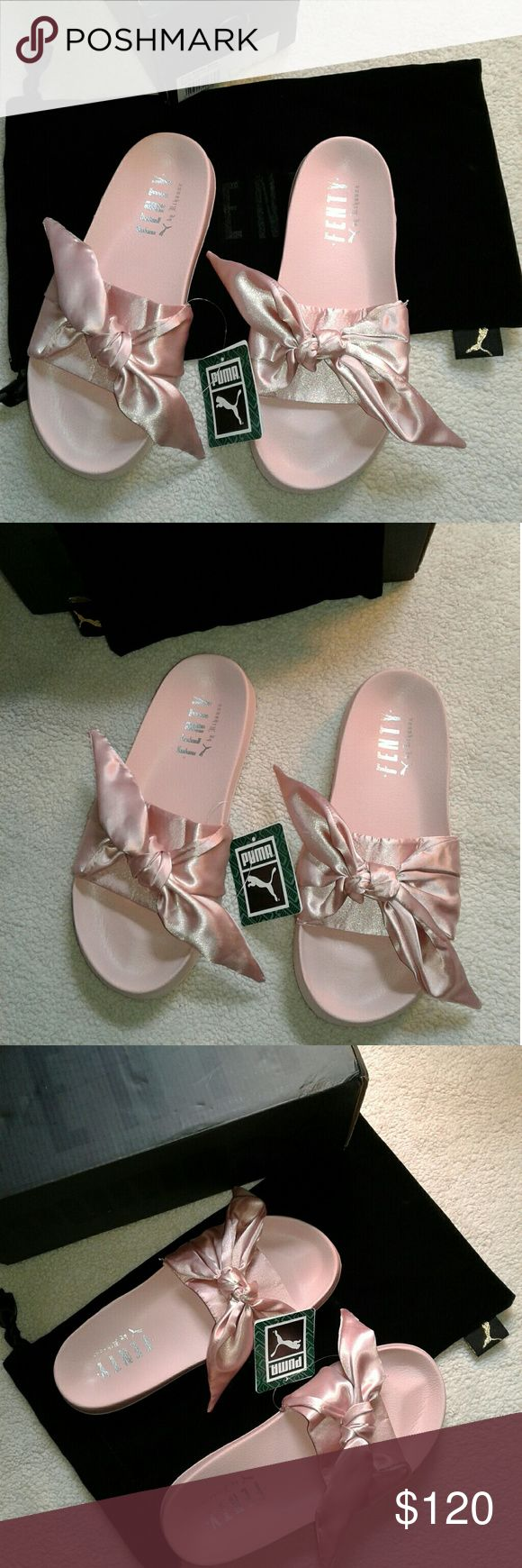 Rihanna Fenty Puma Bow Slides New  100% Authentic with original packaging With box and dust bag Size 8/8.5 fits size 8 best Rihanna Shoes Sandals
