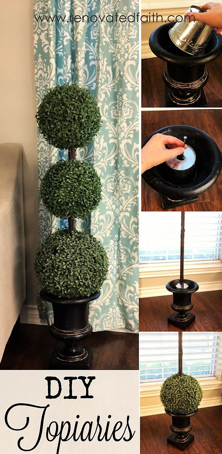 Boxwood Topiary Trees - I made them at a fraction of the cost of those sold in stores and was able to make them exactly the size I wanted.  I have gotten many compliments on these topiaries and they have held up well over the past two years, even in the hot Texas sun.  www.renovatedfaith.com