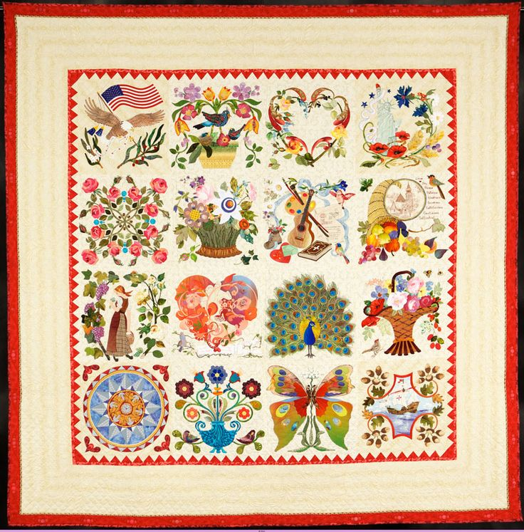 Mi Amor by Margarete Heinisch.  Excellence in hand quilting award, 2013 Road to California.  A Baltimore Album quilt designed to honor her daughter's 25th wedding anniversary.