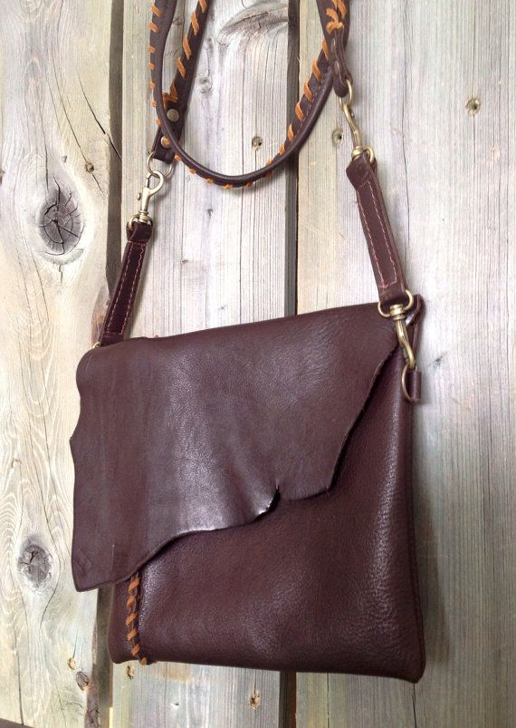 Espresso Brown Leather Side Bag with Raw Edge Flap & Contrasting Twisted Leather Strap by HeartnSoulHandbags, $265.00