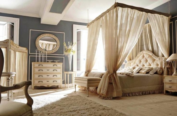 Interesting Bedrooms Flaunting with Beautiful Decoration Canopy Beds Idea: Stunning Bedroom Interior Design With Chic White Canopy Bed As Well Gray Painting Wall Decor And Oval Mirror Above Vanity As Well Fur Rug On Wooden Floor ~ justsoakit.com Bedroom Inspiration