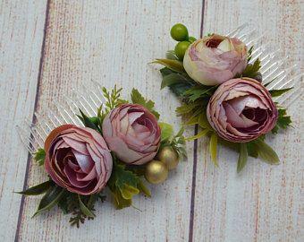 Pedazo de boda peine nupcial tocado flor rosa polvoriento pelo peine boda accesorios nupciales del pelo peine nupcial rustico regalo para ella