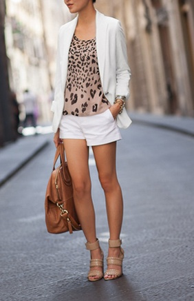 nude shoes, white shorts and blazer