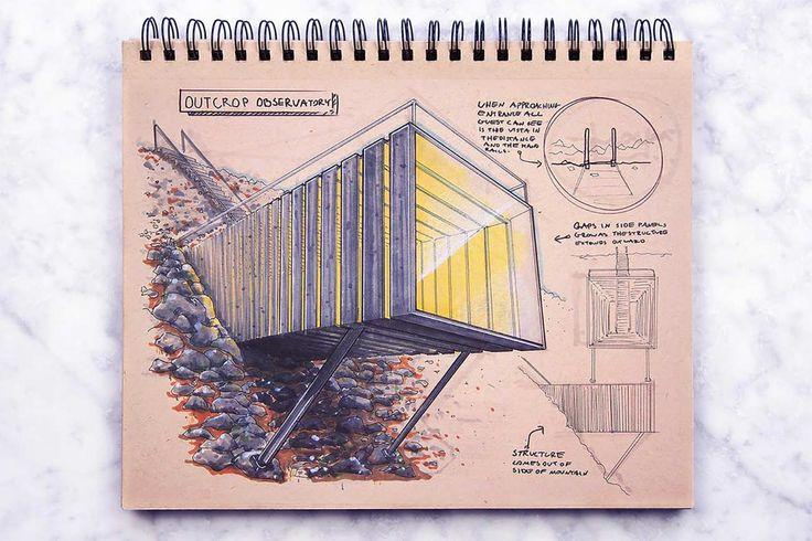 Blick in das Skizzenbuch eines Architekten