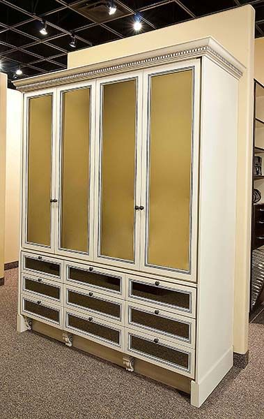 Classy Closets   Antique White Wardrobe With Mirrored Doors
