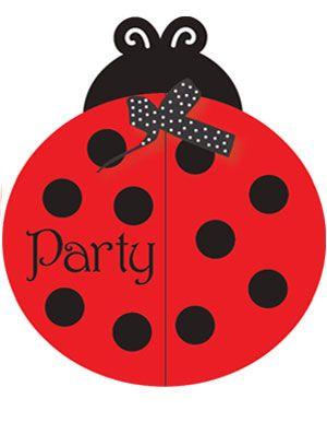 Zwart/rode gestippelde Lieveheersbeestje uitnodigingen - black/red dotted ladybug party invitations