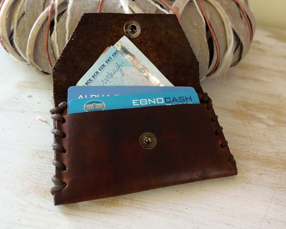 Leather Card Holder Card Holder Small Wallet by VakalisCreations