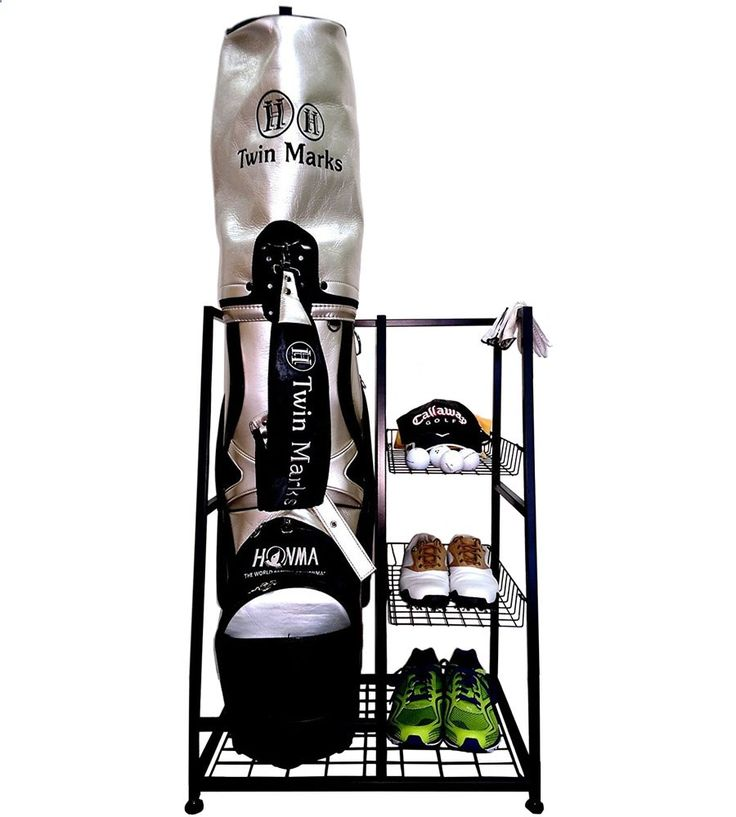 Golf Bags - Store your standard-sized golf bag and various accessories in one convenient location with the Golf Bag Storage Stand.