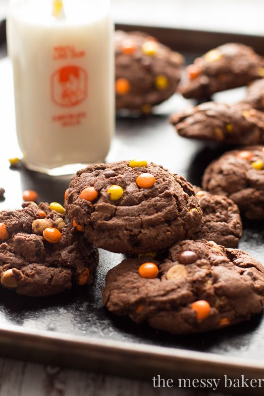 Chocolate Reese's Pieces Pudding Cookies: Thick, chewy chocolate cookies made with instant pudding mix and loaded with mini Reese's Pieces.