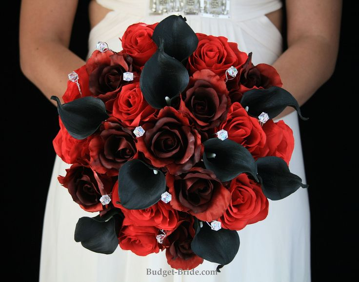 red and black wedding flowers