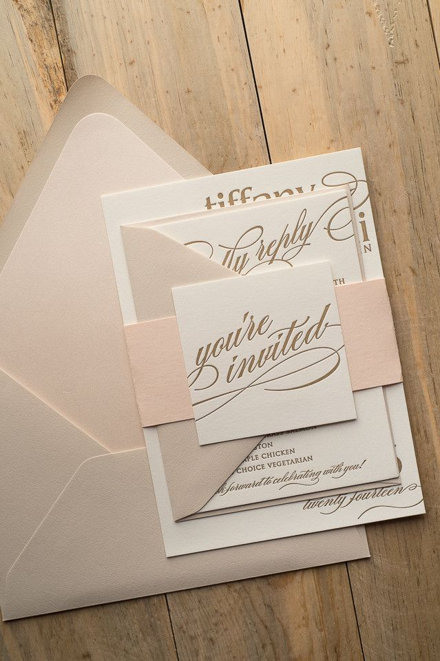 CYNTHIA Suite Romantic Package, blush, champagne, gold, spring wedding invitations, letterpress wedding invitations for formal wedding
