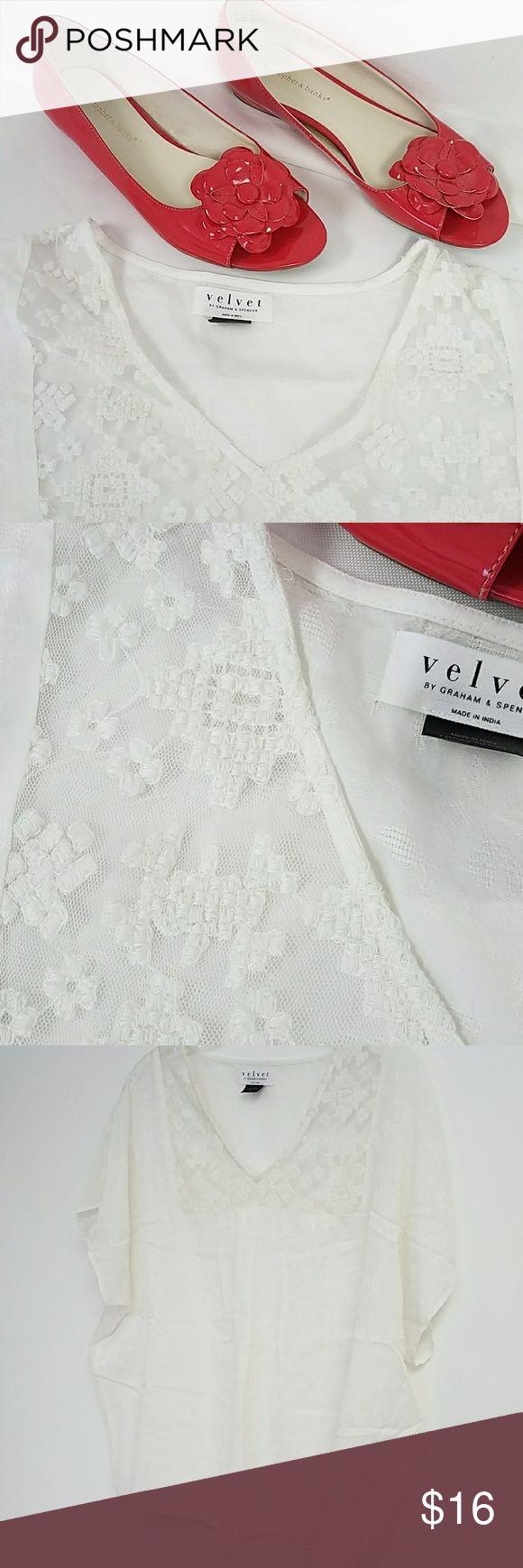 """Velvet by Graham & Spencer Cap sleeve top Good condiiton Bust approx 50"""" 23.5"""" length Velvet by Graham & Spencer Tops Blouses"""