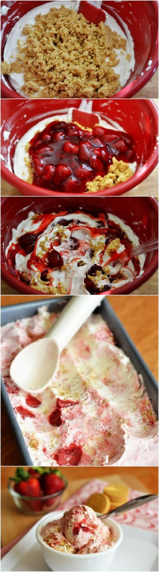 Easy Strawberry Cheesecake Ice Cream Recipe from Life in the Lofthouse -- Yes, but cherry or blueberry