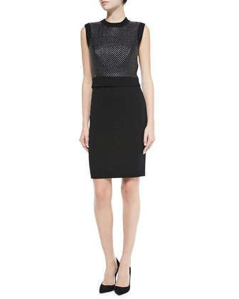 Sleeveless Dress with Faux Leather Front by Susana Monaco at Neiman Marcus.