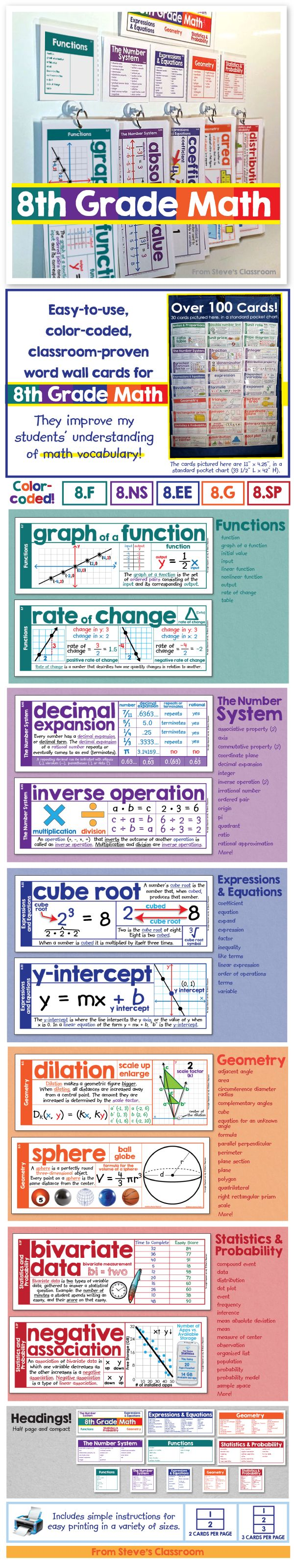 New Product! Half price until October 1! Color coded vocabulary word wall cards for 8th grade math.  Every card has an example to help students grasp eighth grade math concepts like functions, the number system, expressions and equations, geometry, and statistics. The color coding makes it easy to stay organized and identify the different domains. You can even print them smaller and black & white for pasting into interactive journals.