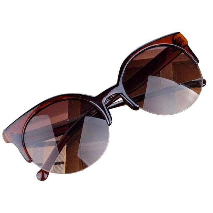 Brown Plastic Half Frame Sunglasses