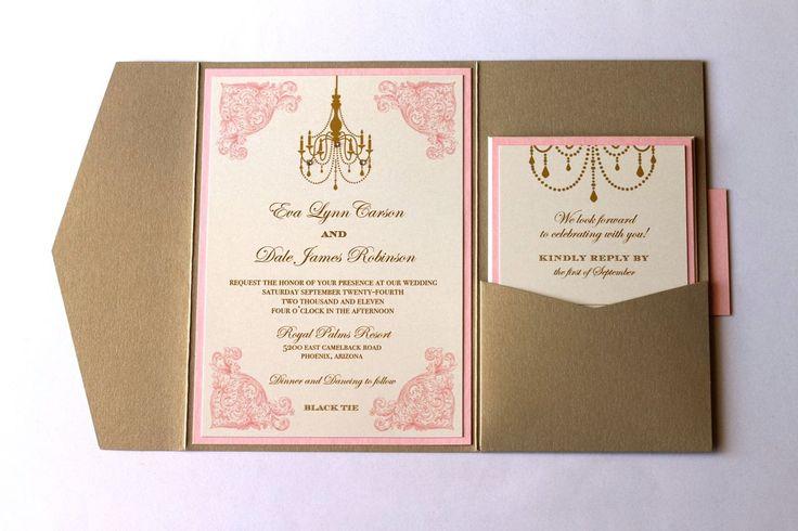 Pocket Wedding Invites: Eva Pocket Fold Vintage Wedding Invitation