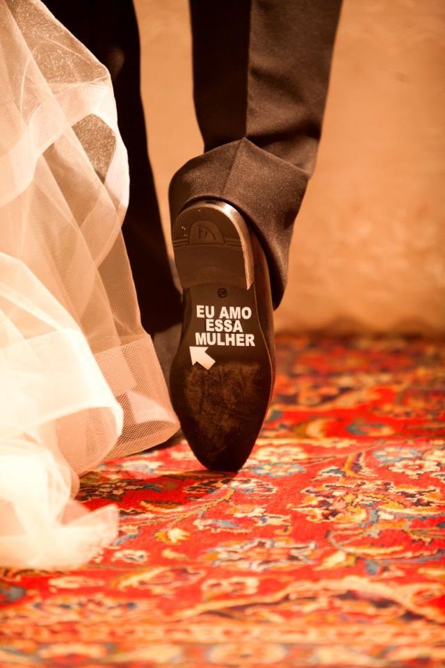Noivos Escrito no sapato em dinamarques