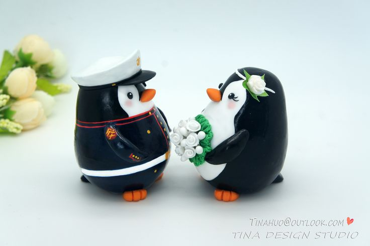 Penguin Wedding Cake Toppers-Army Marine Corps Wedding Cake Toppers