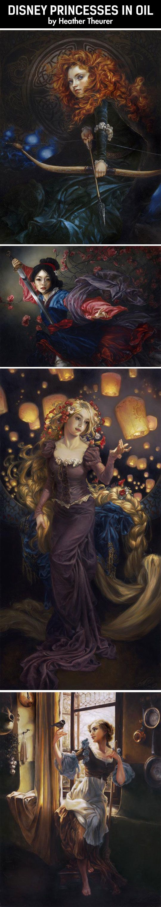 Disney princesses in oil…^this is amazing!: