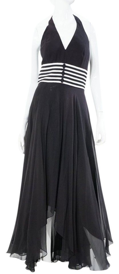 """Chetta B Formal Black White Stripe Nautical Halter Full Length Dress Gown. New without Tags condition Size US 4. 100% Silk, Dry Clean Only. Bust 32"""", Waist 28"""", Length 64""""."""