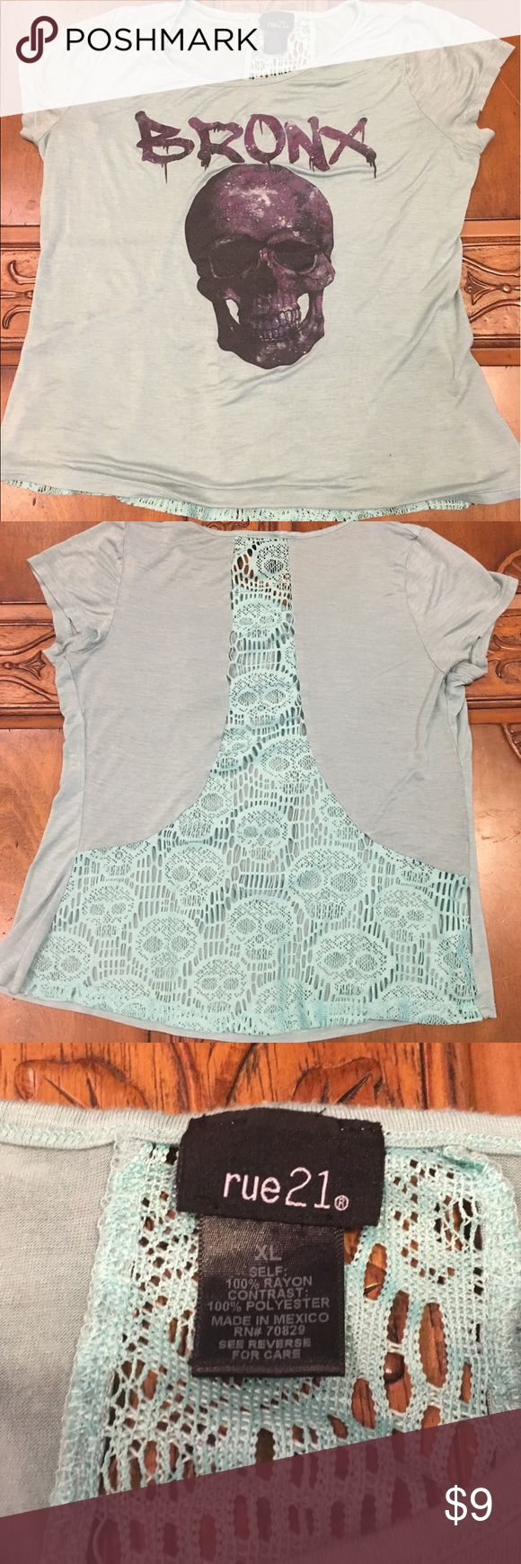 Rue 21 top Flowy and lightweight with lace-detailingalong the back Rue 21 Tops Blouses