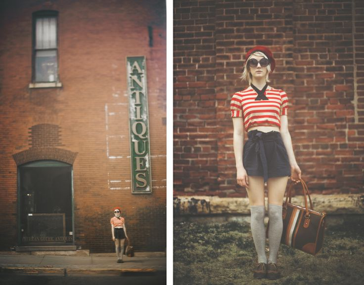 Rushmore inspired. German Beret. Bow tie. Crop top. High waisted shorts. Knee High socks. Saddle Shoes.