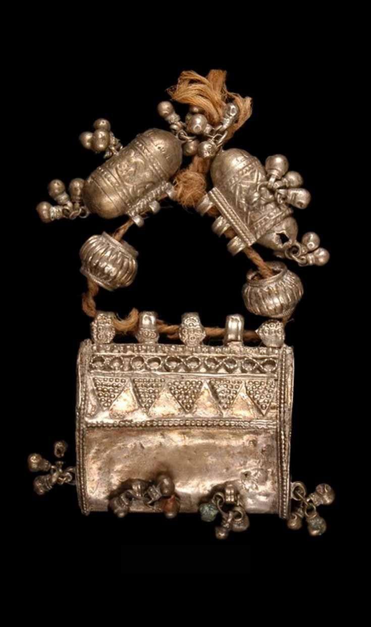India - Gujarat, Kutch, Anjar | Amulet pendants and beads on cord; silver. // ©Quai Branly Museum. 71.1966.125.46