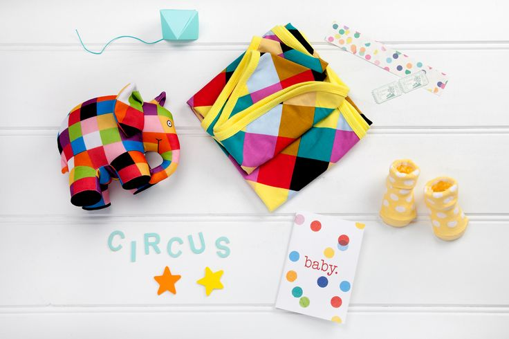 Baby Circus available now at thespecialdeliverycompany.com.au Elmer the Patchwork Elephant, Australian Designed Rock your Baby Harlequin Wrap and Penelope Lane adorable newborn socks for baby's little feet, comes as a pair in a beautiful gift box – lemon with white spots