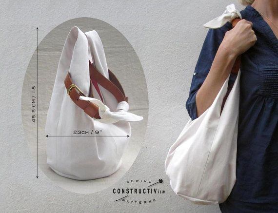 Easy Fabric Hobo Tote Bag sewing pattern by ConstructivPatterns